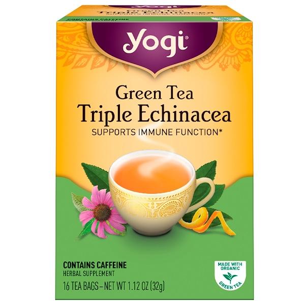 """Yogi Tea, Зеленый чай """"Тройная эхинацея"""", 16 пакетиков, 1.12 унций (32 г) (Discontinued Item)"""