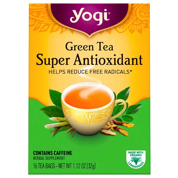 Зеленый чай, Super Antioxidant, 16 чайных пакетиков, 1,12 унции (32 г)