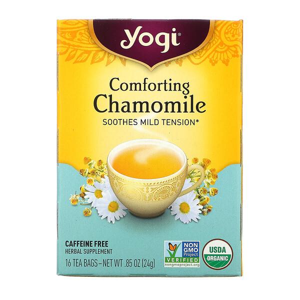 Yogi Tea, Успокаивающая ромашка, не содержит кофеин, 16 чайных пакетиков, .85 унций (24 г)