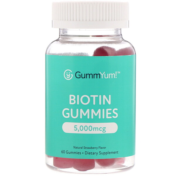 GummYum!, Biotin Gummies, Natural Strawberry Flavor, 5,000 mcg, 60 Gummies
