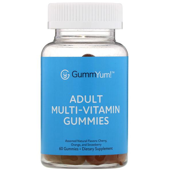 GummYum!, Жевательные мультивитамины для взрослых, с разными натуральными ароматизаторами, 60жевательных таблеток