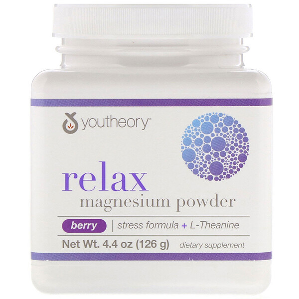 Relax, Magnesium Powder, Stress Formula + L-Theanine, Berry, 4.4 oz (126 g)