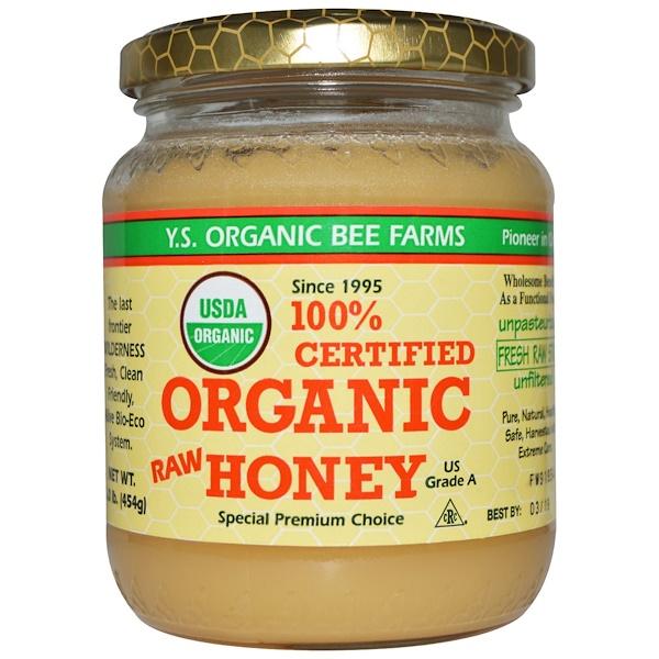 Y.S. Eco Bee Farms, 100% сертифицированный органический сырой мед, 454г (1,0фунта)