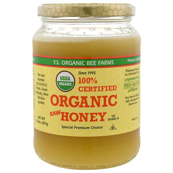 Y.S. Eco Bee Farms, 100% сертифицированный органический сырой мед, 907г