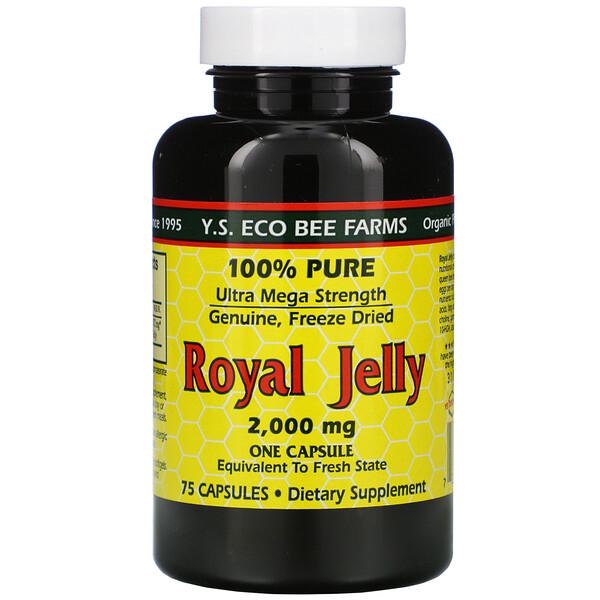 Y.S. Eco Bee Farms, Маточное молочко, 100% чистое, 2000мг, 75капсул