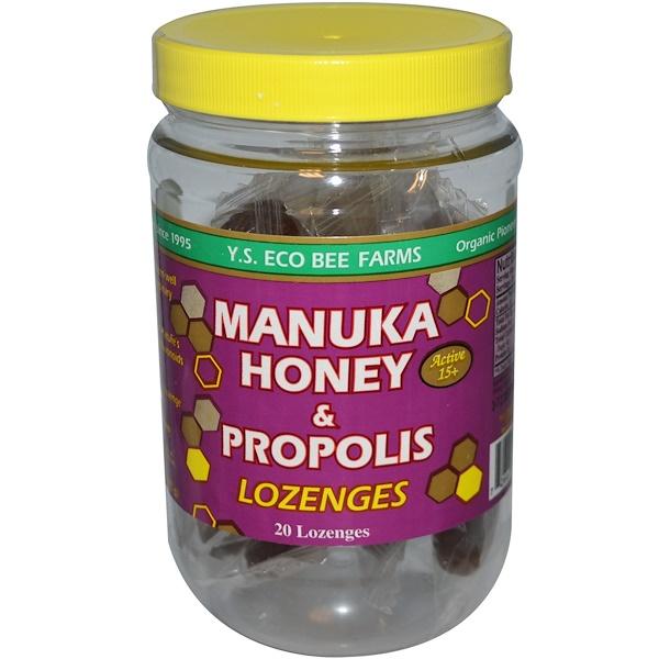Y.S. Eco Bee Farms, Леденцы с медом и прополисом от Manuka, 15+ активных компонентов, 20 леденцов, 92 г (3,2 унции)