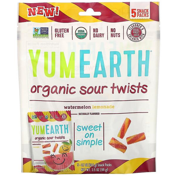 YumEarth, Органические кислые завитушки, Арбузный лимонад, 5 пакетов со снеками, 0,7 унц. (19,8 г) каждый