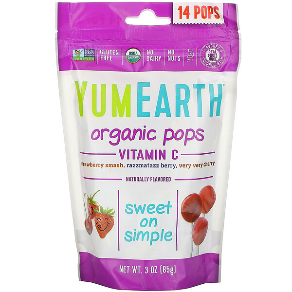 Органические леденцы с витаминомC, 14леденцов, 85г (3унции)