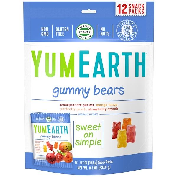 YumEarth, Мишки Гамми, Вкус  в ассортименте, 12 упаковок со снеком, 0,7 унц. (19,8 г) каждая (Discontinued Item)
