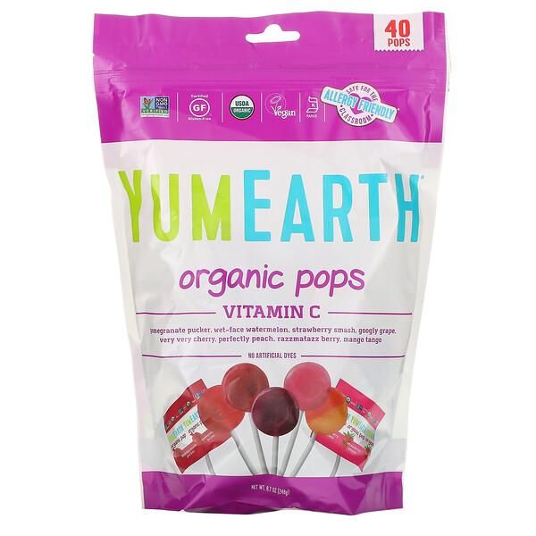 Органические леденцы, витамин C, ассорти вкусов, 40 леденцов, 8,5 унц. (241 г)