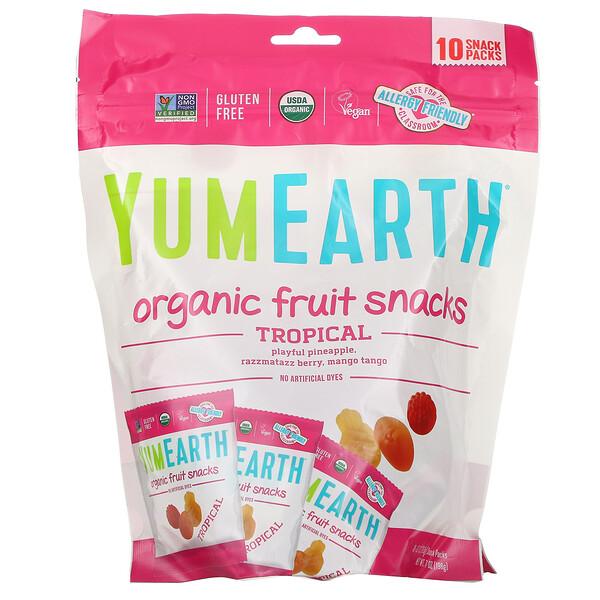 Органические фруктовые снеки, тропические фрукты, 10упаковок, 17,6г в каждой