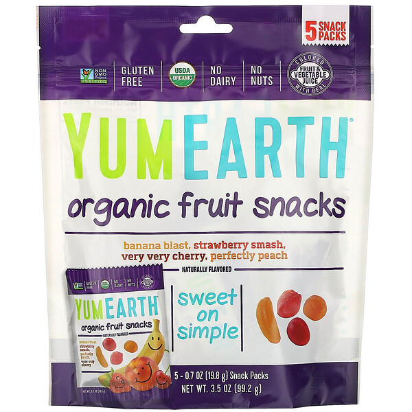 Органические фруктовые снеки, 5 упаковок, вес каждой 19,8 г (0,7 унции)