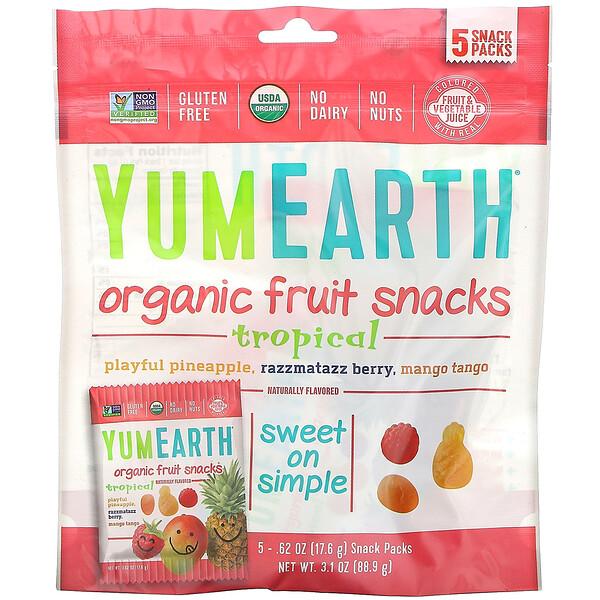 YumEarth, Органические фруктовые снеки, тропические фрукты, 5упаковок, 17,6г в каждой