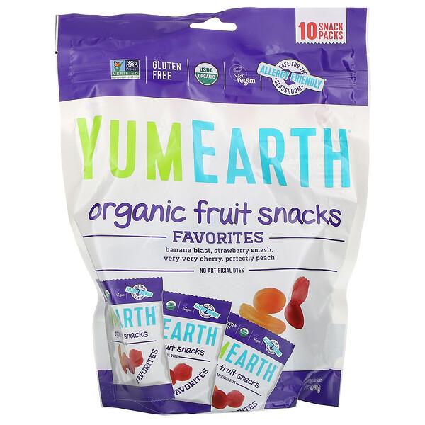 Фруктовые закуски органического происхождения, оригинальные, 10 пакетов, 19,8 г (0,7 унции) каждый