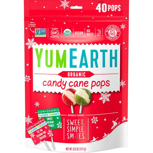YumEarth, Органические леденцы Candy Cane Pops со вкусом перечной мяты, 40 штук, 8,73 унции (247,6 г) (Discontinued Item)