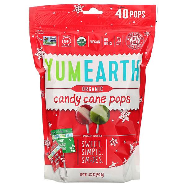 YumEarth, Органические леденцы Candy Cane Pops со вкусом перечной мяты, 40 штук, 8,73 унции (247,6 г)