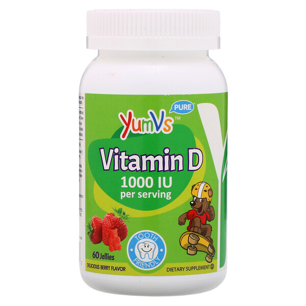 YumV's, Витамин D, со вкусом малины, 1000 МЕ, 60 желейных мишек