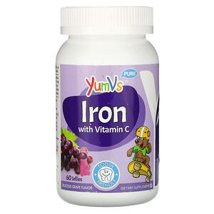 YumV's, Pure, Iron with Vitamin C, Grape, 60 Jellies