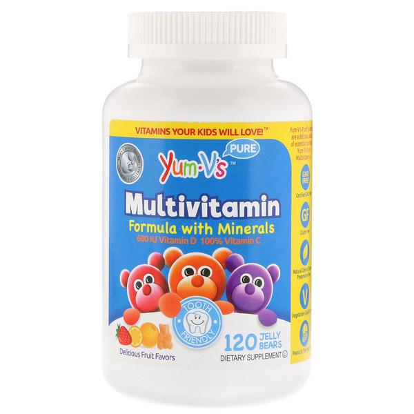 Мультивитаминная формула с минералами, привлекательные фруктовые вкусы, 120 желейных мишек