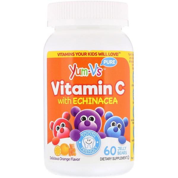Витамин C с эхинацеей, с великолепным апельсиновым вкусом, 60 желейных мишек