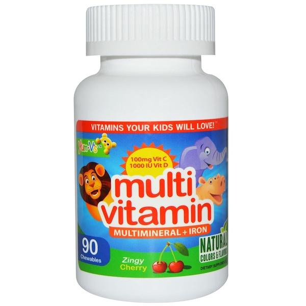 YumV's, Мультивитамин, мультиминерал + железо, вишня, 90 конфет (Discontinued Item)
