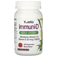 YumV's, Elderberry, Vitamin C & Vitamin D, Triple Defense, Berry Flavor, 25 mcg (1,000 IU), 60 Gummies