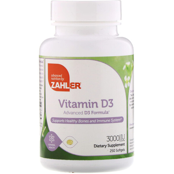 Витамин D3, улучшенная формула D3, 3000 МЕ, 250 мягких желатиновых таблеток