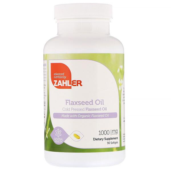 Органическое масло льняного семени, 1000 мг, 90 мягких желатиновых капсул