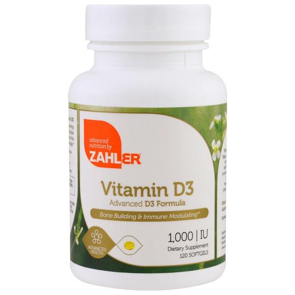 Zahler, Витамин D3, Продвинутая формула витамина D3, 1000 МЕ, 120 мягких капсул (Discontinued Item)
