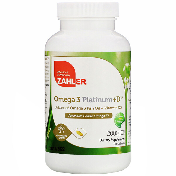 Zahler, Omega 3 Platinum+D, Advanced Omega 3 with Vitamin D3, 2,000 mg, 90 Softgels