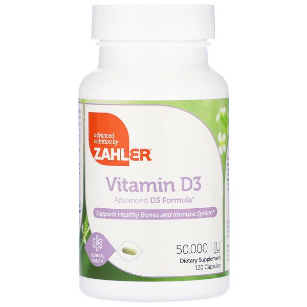 Zahler, Витамин D3, 50000 МЕ, 120 капсул