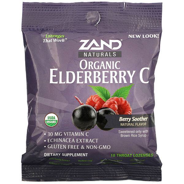 Organic Elderberry C, Berry Soother, 18 Throat Lozenges