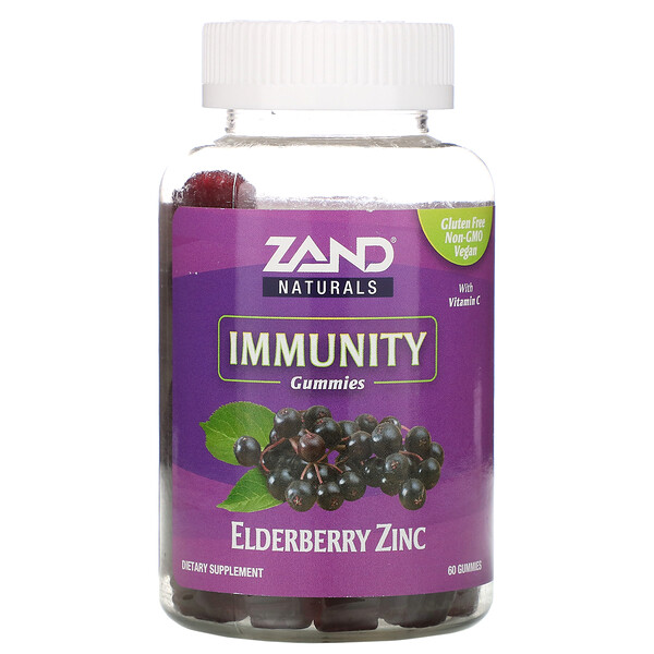 Zand, Жевательные таблетки с бузиной и цинком, с добавлением витаминаC, 60шт.