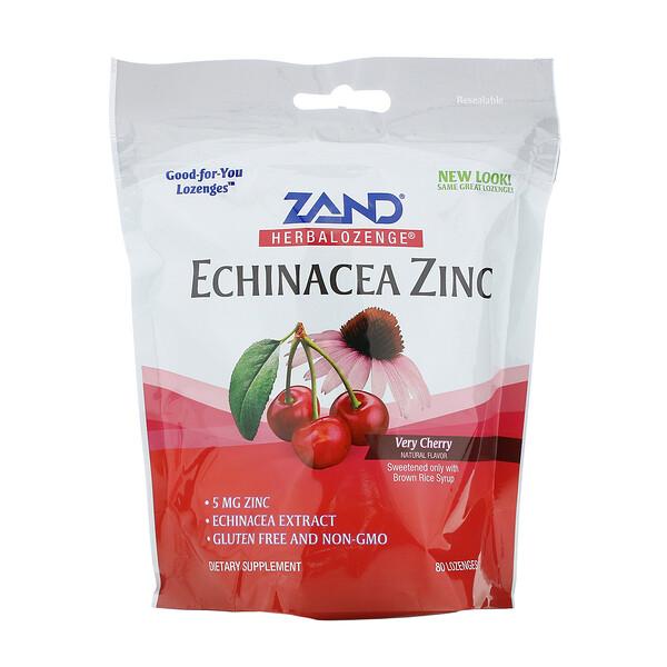 Таблетки на основе трав, эхинацея и цинк, со вкусом вишни, 80 таблеток