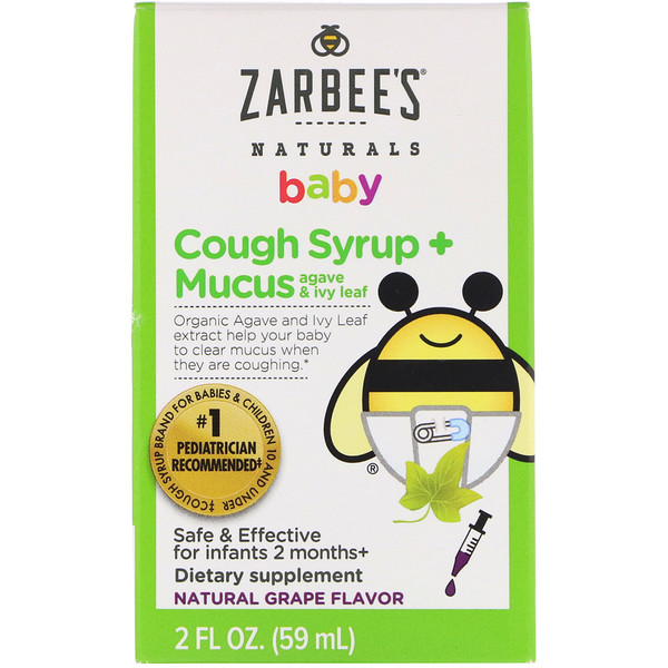 Baby, Cough Syrup + Mucus, Agave and Ivy Leaf, Natural Grape Flavor, 2 fl oz (59 ml)