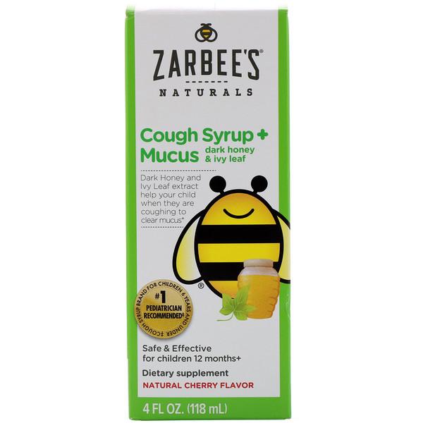 Children's Cough Syrup + Mucus, Dark Honey & Ivy Leaf,  For Children 12 Months+, Natural Cherry Flavor, 4 fl oz (118 ml)