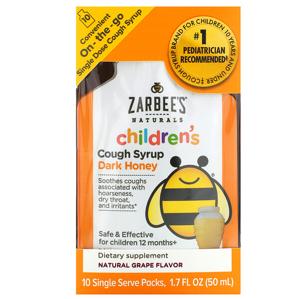 Children's Cough Syrup, Dark Honey, On-the-Go, For Children 12 Months+, Natural Grape Flavor, 10 Single Serve Packs, 1.7 fl oz (50 ml)