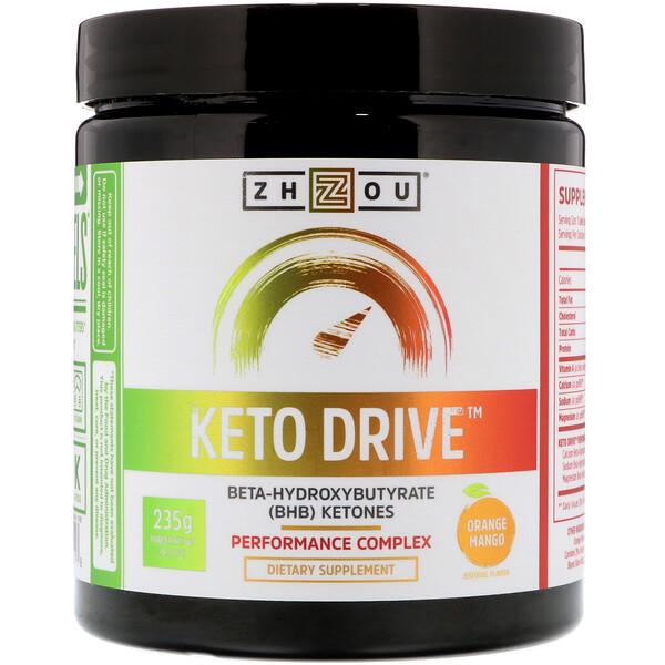 Keto Drive, апельсин манго, 8,29 унц. (235 г)