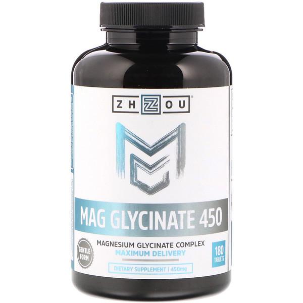 Zhou Nutrition, Магния глицинат 450, 450 мг, 180 таблеток