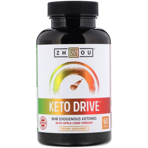 Zhou Nutrition, Keto Drive, экзогенные кетоны BHB, 60капсул
