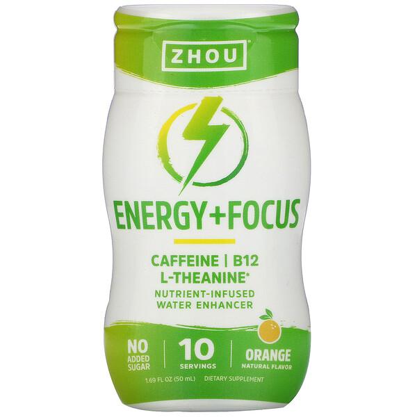 Energy + Focus, Nutrient-Infused Water Enhancer, Orange, 1.69 fl oz (50 ml)
