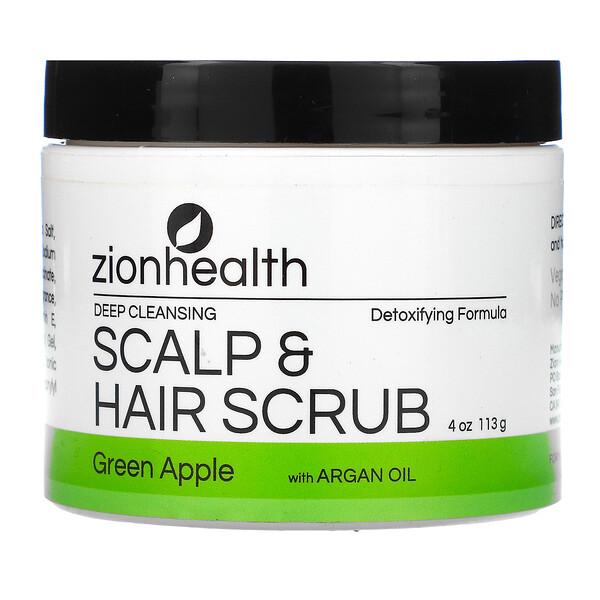 Deep Cleansing Scalp & Hair Scrub with Argan Oil, Green Apple, 4 oz (113 g)