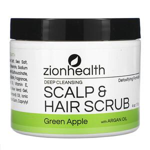Zion Health, Deep Cleansing Scalp & Hair Scrub with Argan Oil, Green Apple, 4 oz (113 g)'
