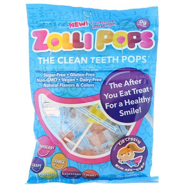 Леденцы Clean Teeth Pops; клубника, апельсин, малина, вишня, виноград, ананас; 25+ ZolliPops, 5,2 унции