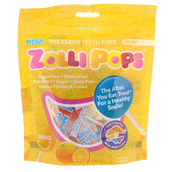 Zollipops, Леденцы для чистых зубов, апельсин, 15 леденцов ZolliPops, 3,1 унции (Discontinued Item)