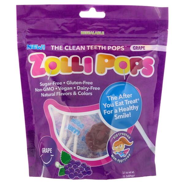 Леденцы для чистых зубов, виноград, 15 леденцов ZolliPops, 3,1 унции