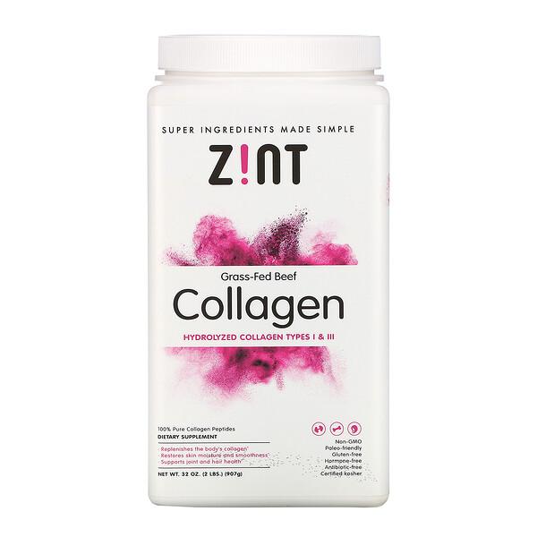 Zint, Коллаген из говядины травяного откорма, гидролизованный коллаген I и III типа, 907г (32унции)