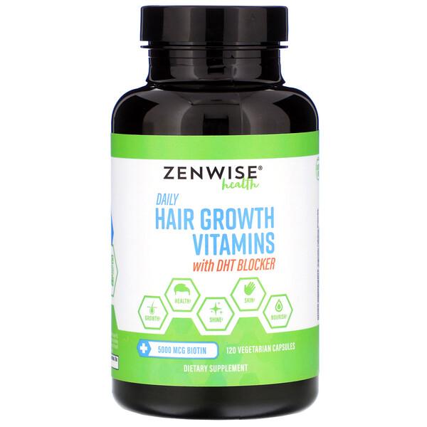 Ежедневные витамины для роста волос с блокатором ДГТ, 120 вегетарианских капсул