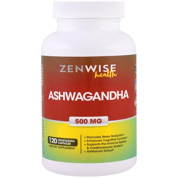 Zenwise Health, Ашваганда, 500 мг, 120 вегетарианских капсул (Discontinued Item)