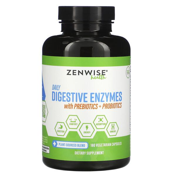 Zenwise Health, ежедневные пищеварительные ферменты с пребиотиками и пробиотиками, 180растительных капсул